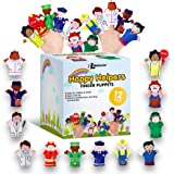 Limited Edition Happy Helpers Finger Puppets 12-Piece Set - Teach and Learn with a Variety of Neighborhood People Characters