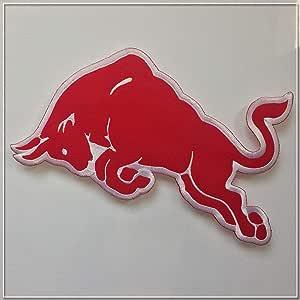RedBull(レッドブル)  右牛 刺繍アイロンワッペン 大 アップリケ 縦約9cm 横約15cm