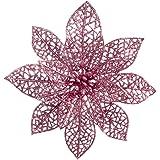 XmasExp White Glitter Poinsettia Flowers Christmas Ornaments 10 Packs Christmas Tree Decoration