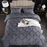 Andency Dark Grey Pinch Pleated Comforter King(104x90Inch)- 3 Piece(1 Down Alternative Comforter, 2 Pillowcases) Gray Pintuck