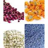 Dried Flowers 250g- Candle Making, Oil Making, Soap Making, Edible Tea Bulk Kit of Jasmine, Dried Rose Buds, Lavender, Chamom
