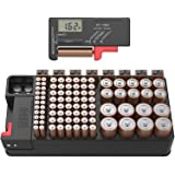 Battery Tester and Battery Storage Organizer case, Batteries Storage Box Holds 110 Batteries Various Sizes for AAA, AA, 9V, C
