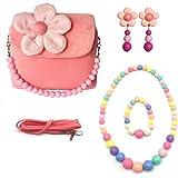 Elesa Miracle Little Girl Handbag Beauty Set Plush Handbag + Flower-Shaped Clip-on Earrings + Necklace and Bracelet Set (Pink