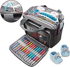 LUXJA トートバッグ 小もの かぎ編み 道具 保管 持ち運び (S,グレー)