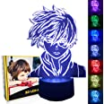 My Hero Academia Figure 3D LED Night Light for Boys Girls Kids, Anime 3D Illusion Lamp Smart Control Multicolors Changing Tab