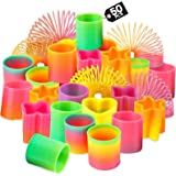 Rainbow Spring Toy Assortment - (Pack of 50) Mini Plastic Coil Spring Toy | Bright Colors and Shapes, Goody Bag Filler & Part
