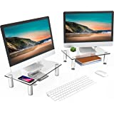 FITUEYES Dual Monitor Stand Glass Laptop Riser Desk with Height Adjustable Leg for PC/Xbox One/Flat Screen TV - 2 Pack DT1038