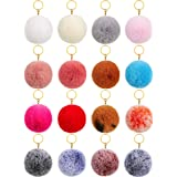 16 Pieces Pom Poms Keychains Fluffy Ball Pompoms Key Chain Faux Fur Colorful Pompoms Keyrings for Girls Women Hats Shoes Bags