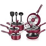 NutriChef Kitchenware Pots & Pans-Stylish Kitchen Cookware, Non-Stick (13-Piece Set), One size, Red