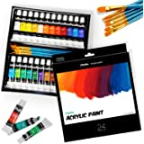 Ohuhu Complete Acrylic Paint Set - 24х Rich Pigment Colors (12 ml, 0.42 oz.) - 6 x Art Brushes - for Painting Canvas, Clay, C