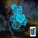 Bear Gifts 3D Night Light, FULLOSUN Optical Illusion Teddy Heart Lamp Cute Nightlight Remote Control 16 Colors Changing Bedro