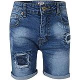 Kids Boys Shorts Denim Ripped Mid Blue Chino Bermuda Jeans Knee Length Pant 5-13