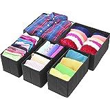 Simple Houseware Closet Drawer Organizer Bin, Non-Woven Fabric, Black, 6 Set