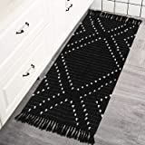 Uphome Boho Cotton Runner Rug Small Morrocan Hand-Woven Area Rug with Tassels, Black and White Geometric Tribal Throw Rug Chi