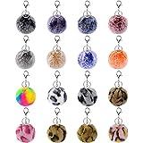 16 Pcs Pom Poms Keychains Fluffy Puff Ball Keychain Faux Rabbit Fur Ball Keychain for Girls Women (Leopard Mix Colors & Rainb