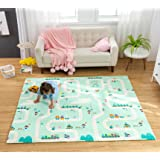 Infant Shining Playmat Baby Play Mat Foldable King Size Reversible 200x180cm, Non Toxic XPE Foam Waterproof for Kids (City)