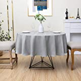 """Round Tablecloth Grey 70"""" Waffle Stripe Water Resistant Dust-Proof Table Cover for Kitchen Dinning Party Farmhouse Tabletop D"""