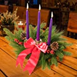 Rocinha Christmas Advent Wreath Classic 3-Candle Christmas Centerpiece Decorations,Red Ribbon Advent Wreath- Christmas Wreat