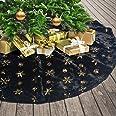 DegGod Plush Christmas Tree Skirts, 36 inches Luxury Black Faux Fur Xmas Tree Base Cover Mat with Gold Snowflakes for Xmas Ne
