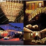 Salcar 400球 10MLEDイルミネーションライト電飾 祝日 飾り付け 防水 窓飾り カーテンライト クリスマスライト ストリングライト リモコン付き PSE認証 8種点灯モード 電球色