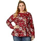 Agnes Orinda Women's Plus Size Crew Neck Long Sleeves Floral Peplum Top
