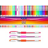 Gel Pens for Adult Coloring Books, 32 Colors Gel Marker Set Colored Pen with 40% More Ink for Kids Drawing, Doodling, Bullet