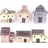 LeBeila Miniature Fairy Garden Stone Houses Mini Cottage House Miniatures Decor Accessories, 6 Fairies Gardening Decoration K