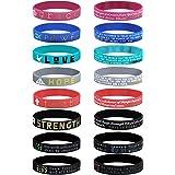 Finrezio 16Pcs Christian Inspirational Bible Bracelets Faith Hope Love Power Grace Strength Silicone Rubber Wristbands for Re