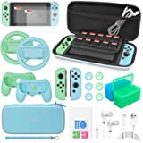 26 in 1 Accessories Bundle for Switch Animal Crossing, Accessories with Carrying Case, Screen Protector, Hand Grips, Steering
