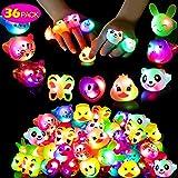 Mikulala Birthday Party Favors for Kids Prizes Flashing 36 Pack LED Jelly Light Up Rings Toys Bulk Boys Girls Gift Blinky Glo