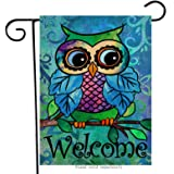 Hzppyz Owl Welcome Garden Flag, Spring Home Decorative House Yard Outdoor Decorations Sign, Summer Vintage Outside Lawn Decor