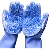 Forliver Washing Cleaning Gloves, 1 Pair Reusable Silicone Brush Scrubber Gloves Heat Resistant, for Dish wash, Kitchen Clean