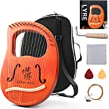 Lyre Harp,16 String Mahogany Lyre Instrument with Tuning Wrench, Replace String Set,Manual Book for Music Lovers (16 String-B