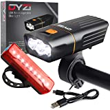 DYZI USB Rechargeable Bike Lights Set -Waterproof Front Headlight & Tail Light Easy to Fit & Mount, Built in Powerbank for Ch