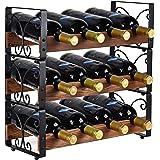 X-cosrack Rustic 3 Tier Stackable Wine Rack Freestanding 12 Bottles Organizer Holder Stand Countertop Liquor Storage Shelf So