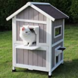 ROCKEVER Feral Cat Shelter Outdoor with Escape Door Rainproof Outside Cat House Two Story for Three-Four Cats with Two Mat Co