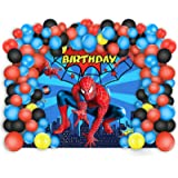 Spiderman Birthday Party Decorations 5 x 3 Ft Backdrop Banner Photography Background and 80 Pcs Latex Balloons Kit Superhero