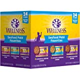 Wellness Seafood Pate Favorites Wet Cat Food Variety Pack, 3 Ounces (Pack of 24)