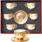 Alisveristime 12 Pc Turkish Greek Arabic Coffee Espresso Cup Saucer Porcelain Set (Gold Color)