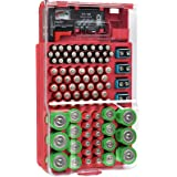 The Battery Organizer TBO7533 Storage Case with Hinged Clear Cover and closing latch, includes a Removable Tester, Holds 93 B