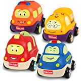 Kidzlane Pull Back Cars for Toddlers | Baby Toy Cars for 1 to 3 Year Old Boy or Girl | Soft & Sturdy Pull Back Car Toys | Set