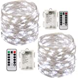 Led String Lights Battery Powered,[2 Pack] Fairy String Lights Battery Operated Waterproof 8 Modes 100 LED 33ft with Remote C