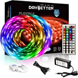 DAYBETTER Led Strip Lights 32.8ft 10m with 44 Keys IR Remote and 12V Power Supply Flexible Color Changing 5050 RGB 300 LEDs L