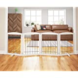 PAWLAND 96-inch Extra Wide Dog gate for The House, Doorway, Stairs, Freestanding Foldable Wire Pet Gate, Set of Support Feet