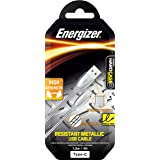 Energizer Type-C Cable USB to USB-C Zinc steel cables, High Strength, 1.2m, Sync & Charge. , Silver, (C16C2AGSLMW)
