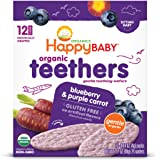 Happy Baby Gentle Teethers Organic Teething Wafers Blueberry Purple Carrot, Soothing Rice Cookies for Teething Babies Dissolv