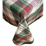"Trends Collection Christmas Cottage Plaid Cotton Weave Holiday Tablecloth, 70"" Round"