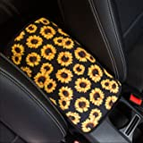 YR Vehicle Center Console Armrest Cover Pad, Universal Fit Soft Comfort Center Console Armrest Cushion for Car, Stylish Patte