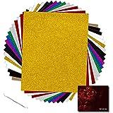 "YRYM HT Glitter Heat Transfer Vinyl Bundle - 18 Pack 12""x 10"" Glitter HTV Vinyl Sheets with 11 Assorted Colors for Cricut & S"