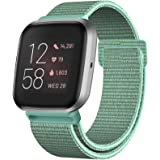 HAPAW Nylon Bands Compatible with Fitbit Versa/Versa 2 / Versa Lite, Soft Adjustable Breathable Sport Strap Band Accessories